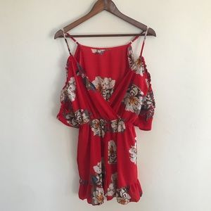 BOOHOO red floral romper size L